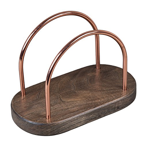 (Creative Home 50303 Chestnut Wood With Copper Plated Wire Napkin Holder, 7-1/4
