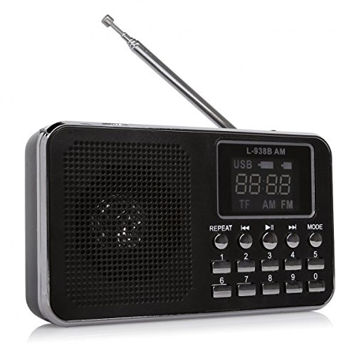Mfine 938B Black Portable Speaker AM/FM Radio Music Player Micro SD/TF Card (Speaker Portable Black Ipod)