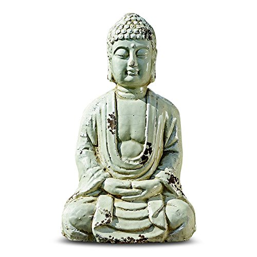 Collection Zen Garden (Urban Zen Buddha Statue, Seated in Meditation, Antiqued Gray Finish, Distressed Glaze, Exposed Terracotta Patches, 1 Ft Tall (12 1/4 Inches) Garden and Home, the Serenity Collection)