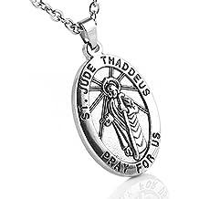 HZMAN Men's Silver Stainless Steel SAINT JUDE THADDEUS Jesus Oval Medal Pendant Necklace