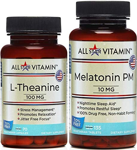 Rest & Relax AMPM, Melatonin 10 MG (135 Tablets) L-Theanine 100 MG (70 Capsules) for Whole Day Solution; Stress Free, Relax, Sleep, Insomnia Free, Non-GMO, Gluten Free, All-Star Vitamin