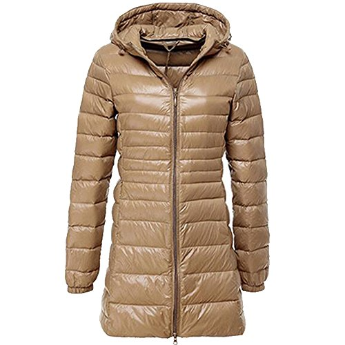 BOZEVON Women's Outerwear Down Jacket Long Lightweight Hooded Winter Coat 10 Color Available Brown