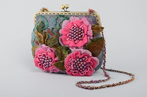 - Felted Bag With Flowers And Chain Handle