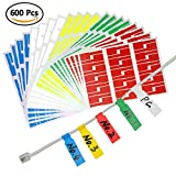 Color Label Printer - YOTINO 20 Sheet 600Pcs Self-Adhesive Cable Labels, Waterproof Tear Resistant UV Resistant Durable Work with Laser Printer 5 Colors Assorted (Each Color 120 Pieces)