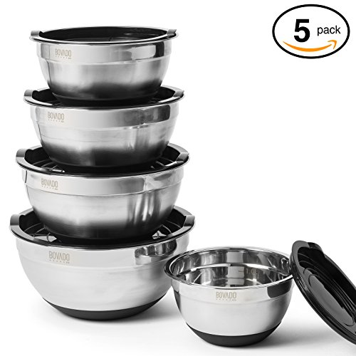 Stainless Steel Mixing Bowl Set- 5 Bowls With Lids - Measurement Markings and Non-Slip Base - Set Includes 1.5, 2, 2.5, 3, and 4 Quart Bowls - by Bovado USA