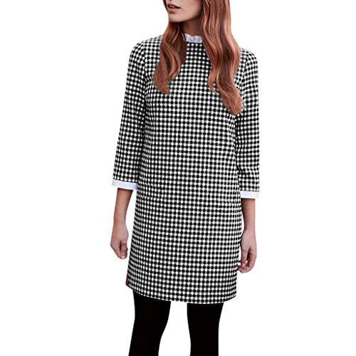 iFOMO 3/4 Sleeve Casual Plaid Print Dress for Women,Checkered Mini Dress for Girls(Black,L)
