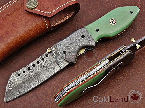 ColdLand   One-of-a-Kind Limited Rare Collection Custom Handmade Damascus Steel Tanto Folding Hunting Knife Micarta Rare Light Green G10 Handle with Clip AF09