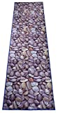 Custom Size Runner Rug Nature Inspired Printed Roll Runner 26 Inch Wide x Your Length Choice Antibacterial Slip Skid Resistant TPR Backing (Stones Grey Blue, 12 ft x 26 in)