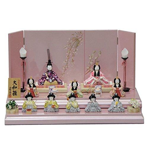 雛人形 アウトレット品 平飾り木目込み十人揃 大和雛12号K-1 幅55cm 3mk32 一秀 ピンクのお雛様   B075GDQF9D