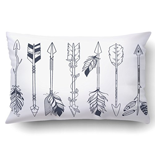 Tattoos American Native (Emvency Decorative Throw Pillow Cover Case for Bedroom Couch Sofa Home Decor Arrow set in Native American Indian style Boho design tattoo art Queen 20x30 Inches Boho)