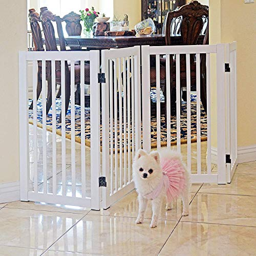 WELLAND Freestanding Wood Pet Gate White, 72-Inch Width, 30-Inch Height No Support Feet