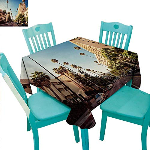 (WilliamsDecor Urban Washable Table Cloth A Street in Beverly Hills California Palm Trees Houses Famous City Photo Great for Buffet Table 50