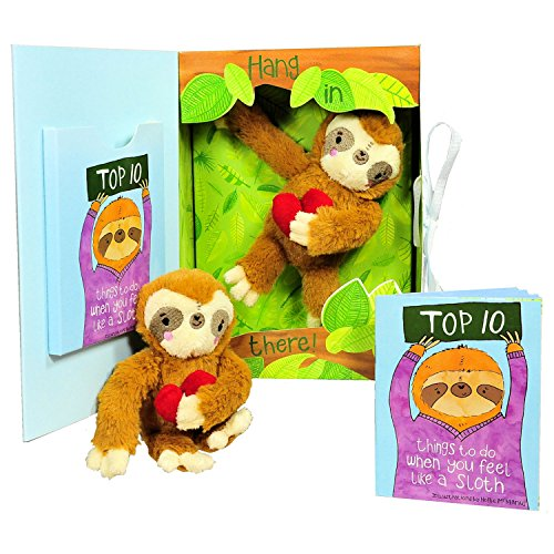 Get Well Gifts - Feel Like a Sloth? Hang in There! Get Well Soon Gift for Women, Kids, Men, Teens. Plush Sloth and Top 10 Things to Do When You Feel Like a Sloth in Gift Box. Great for After Surgery. - Feel Better Gift