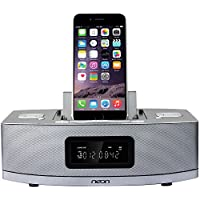 Neon electronic BTD622-37 Apple Certified Dual-Docking Lightning iPod/ iPhone /iPad with Bluetooth, MP3 Link,FM Radio and 2 Alarm Clock Functions. able to charge Android based phones or tablets