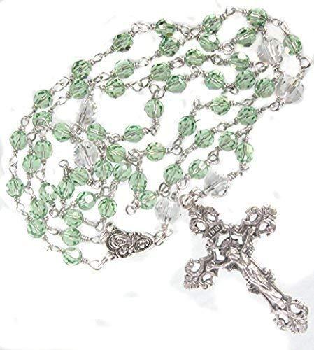 Catholic Rosary Swarovski Crystal Peridot Handmade Unbreakable August Birthstone