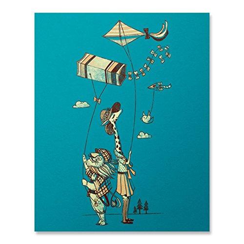 Love at First Flight Art Print / Lion Print / Giraffe Print / Kite Wall Art / Cute Art Print / Home Decor / 8 x 10 / 18 x 24