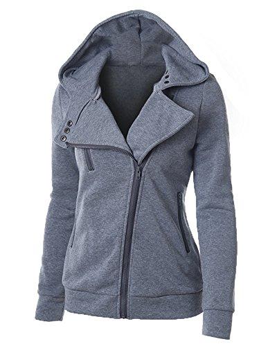 Casual Con Sudadera Chaqueta Jacket Sportswear Corta Cremallera Mujer Oscuro Capucha Gris Estilo Sweatshirt E06Sq