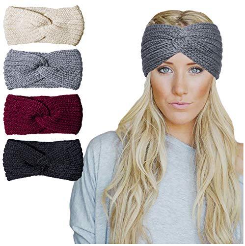 Chalier 4 Pcs Warm Winter Headband for Women Cable Crochet Turban Ear Warmer Headband Gifts(05-4 Pack02)