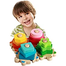 ZaH Baby Shape Sorter Toys Wooden Stacking Blocks Toy Learning Education Puzzles Play Set Birthday for Boys Girls Toddlers Kids (Rianbow Turtle)