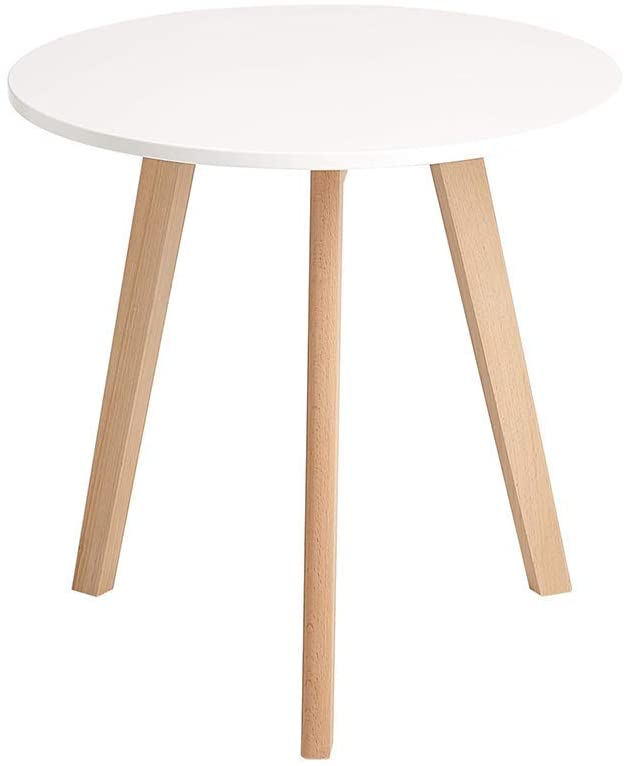 CangLong Modern Round End Side Kitchen Living Leisure Pedestal Wooden Coffee White Dining Room Home Furniture Table for Use in Bedroom