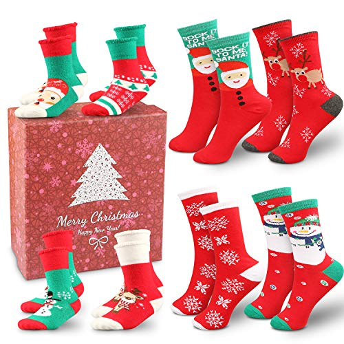 8 Pairs Christmas Socks Set, Family Set Slipper Socks Christmas Stockings With Gift Box for Adults Kids Women Men