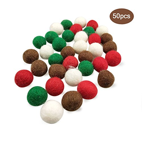 - Blmusi 50pcs 20 mm (0.79 inch) Handmade Pure Wool Balls Flocking Beads Christmas Decoration DIY Manual Craft Accessories(white,red,green,brown)