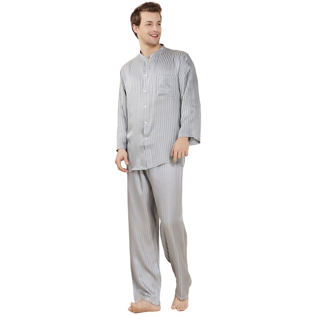 ForeverSilk Men's 19 mm Silk Pajamas Luxury Sleepwear Gift Light Grey Size M