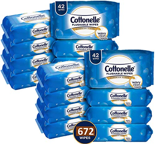 Cottonelle FreshCare Flushable Wipes, 336 Flushable Wet Wipes (Eight 42-Count Resealable Soft Packs) (Packaging May Vary), Lightly Scented (.670)