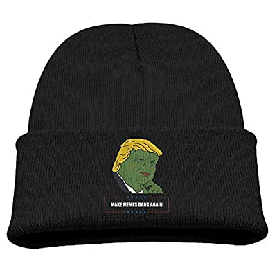 DONALD TRUMP PEPE MAKE MEMES DANK AGAIN Cute Knit Cap Cool Slouchy Beanie Black Youth