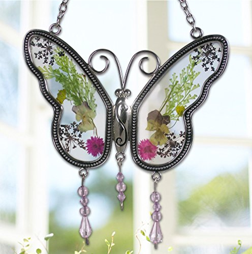 BANBERRY DESIGNS Butterfly Suncatcher with Real Embedded Pressed Flower Wings Window Ornament Decoration Birthday Gift for Mom Grandma Chain for Hanging Metal and Glass 4.25 Inch -