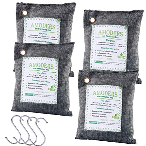 4 Pack Activated Natural Bamboo Charcoal Air Purifying Bag, Air Freshener and Odor Eliminator for Cars Closets Bathrooms Pet Areas, 200g/bag, Include 4 Hooks