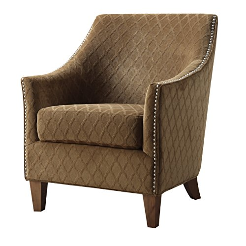 (Emerald Home Kismet Wembley Pecan Accent Chair with Diamond Pattern Fabric And Nailhead Trim)