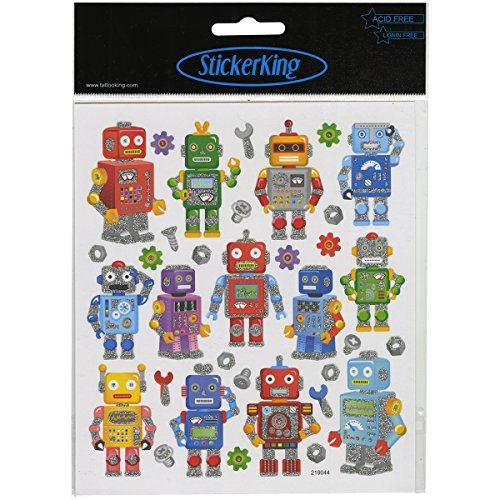 Tattoo King Robot Fun Stickers, Multicolor