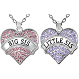 Set of 2 Big Sis, Little Sis Pink, Light Purple Crystal Heart Necklace Gift Set for Sisters Best Friends, Besties, BFF