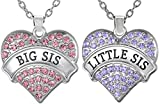 Girls Teens Big Sis & Lil Sis Heart Necklace Set, 2 Sister Necklaces
