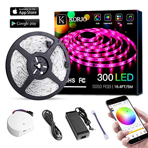 Solarphy 5050 LED Strip Light 16.4ft (5m) 300 LEDS Waterproof Color Changing LED Strip RGB Rope Light Kit With Bluetooth Smartphone APP Controller & 24V 5A Power Supply for IOS ()
