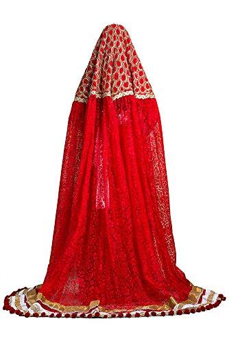 palasfashion da donna Wedding Crepe Kaftan con veilred