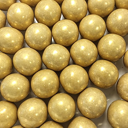 Large 1 Gold Shimmer Gumballs - 2 Pound Bags - About 120 Gumballs Per Bag - - Includes How to Build a Candy Buffet Guide ()