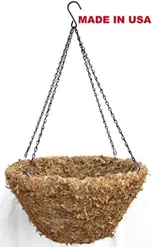 18 Sphagnum Moss Hanging Basket with Black Chain Hanger
