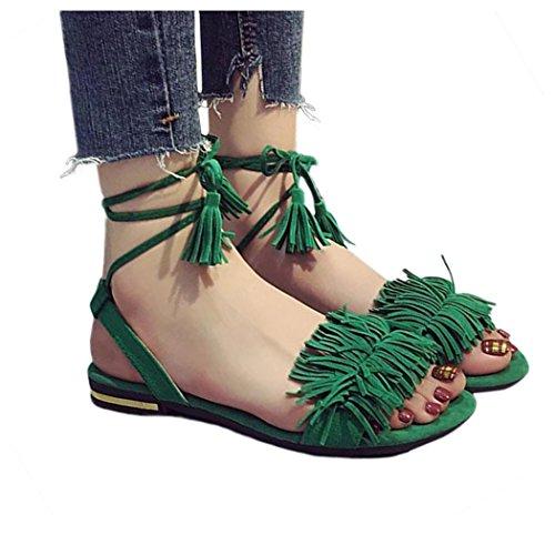 Inkach Dames Zomersandalen | Mode Kwast Vetersluiting Sandalen Slippers Met Strikjes Casual Loafer Straps Flats Schoenen Groen