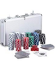 Relaxdays Pokerkoffer, 300 laserpokerchips, 2 kaartdecks, 5 dobbelstenen, dealer-button, aluminium koffer afsluitbaar, zilver