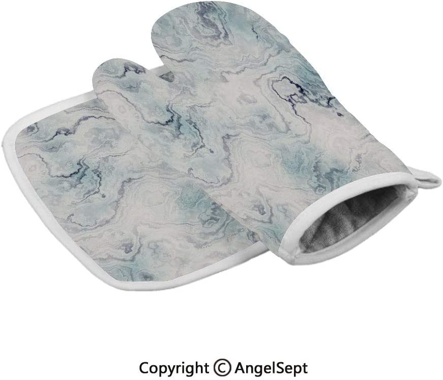 Soft Pastel Toned Abstract Hazy Wavy Pattern with Ottoman Influences Decorative,Polyster Oven Mitts+Insulated Square Mat,Light Blue Grey Mint,Heat Resistant Kitchen Gloves