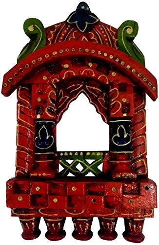 Purpledip Wooden Wall Hanging 'Jharokha - Royal Palace Window': Vintage Showpiece, Multicolor (11809)