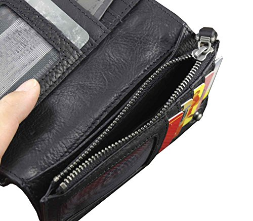 Leather Tow Button Brand Mens With Purse Wallet Black Snap Chain TdRqdxEXw