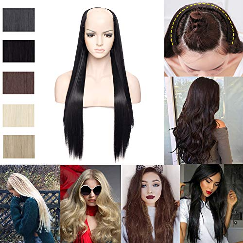 U-shape Half Hair Wig Long Japanese Synthetic Clip in Hairpiece U Part Wig for Women One Piece with 7 Clips Straight Hair Extensions Jet - 3/4 Wig Human Hair