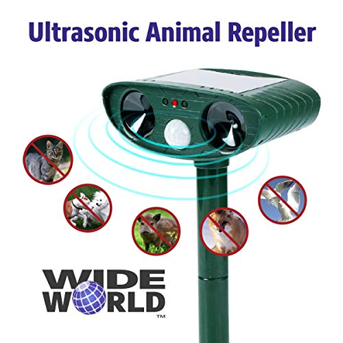- Wide World Ultrasonic Animal Pest Repeller, Outdoor Solar Powered Pest and Animal Repeller - Effectively Scares Away All Outdoor pests and Animals Such as Dogs, Raccoons (2x5.6, Green)