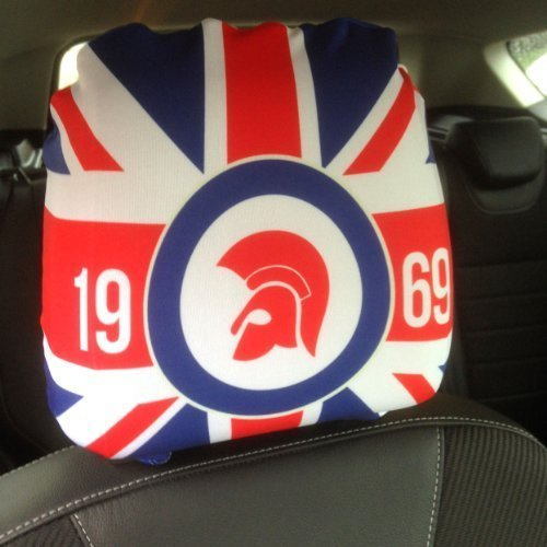 CAR SEAT HEAD REST COVERS 2 PACK TROJAN UNION JACK RED BLUE DESIGN MADE IN