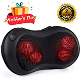 [Mother's Day] Naipo Shiatsu Massage Pillow Back Neck Massager with Heat Kneading for Shoulders, Lower Back Pain, Full Body, Legs, Foot Use at Home, Office, and Car, Black