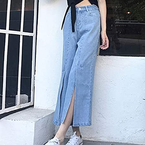 Amazon.com: DHmart Vintage Split Wide Leg Denim Pants for ...