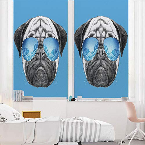 Pug 3D No Glue Static Decorative Privacy Window Films, Pug Portrait with - Bathroom Inch Pearl Mirrors Oval 24